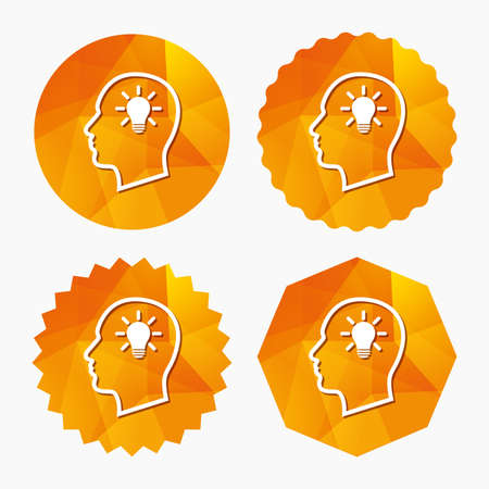 Head with lamp bulb sign icon. Male human head idea symbol. Triangular low poly buttons with flat icon. Vector