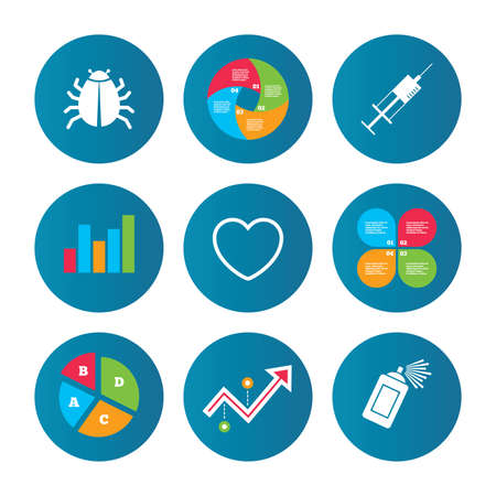 acarus: Business pie chart. Growth curve. Presentation buttons. Bug and vaccine syringe injection icons. Heart and spray can sign symbols. Data analysis. Vector