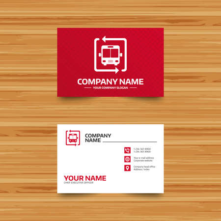 card stop: Business card template. Bus shuttle icon. Public transport stop symbol. Phone, globe and pointer icons. Visiting card design. Vector