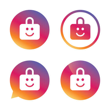 child protection: Child lock icon. Locker with smile symbol. Child protection. Gradient buttons with flat icon. Speech bubble sign. Vector Illustration