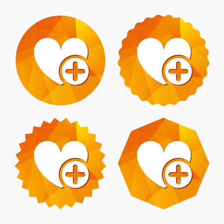Heart sign icon. Add lover symbol. Plus love. Triangular low poly buttons with flat icon. Vector