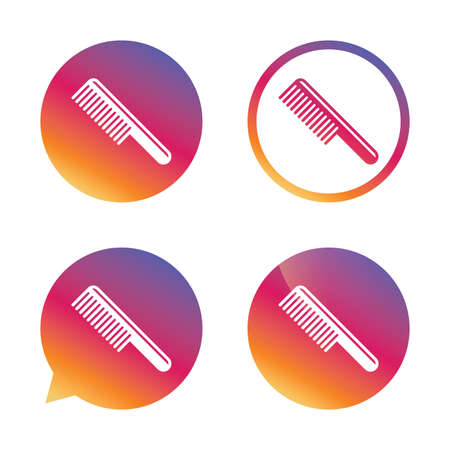 comb hair: Comb hair sign icon. Barber symbol. Gradient buttons with flat icon. Speech bubble sign. Vector Illustration