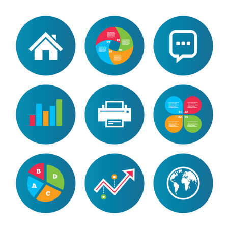 three dots: Business pie chart. Growth curve. Presentation buttons. Home main page and globe icons. Printer and chat speech bubble with suspension points sign symbols. Data analysis. Vector