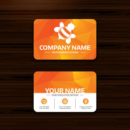 apis: Business or visiting card template. Bee sign icon. Honeybee or apis with wings symbol. Flying insect diagonal. Phone, globe and pointer icons. Vector