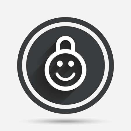 child protection: Child lock icon. Locker with smile symbol. Child protection. Circle flat button with shadow and border. Vector