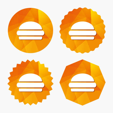 Hamburger sign icon. Fast food symbol. Junk food. Triangular low poly buttons with flat icon. Vector Illustration