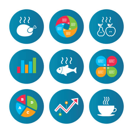 growth hot: Business pie chart. Growth curve. Presentation buttons. Hot food icons. Grill chicken and fish symbols. Hot coffee cup sign. Cook or fry apple and pear fruits. Data analysis. Vector