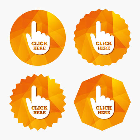 press button: Click here hand sign icon. Press button. Triangular low poly buttons with flat icon. Vector