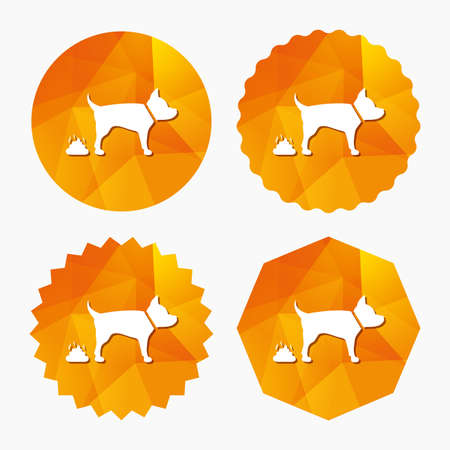 feces: Feces sign icon. Clean up after pets symbol. Put it in the bag. Triangular low poly buttons with flat icon. Vector