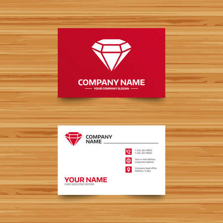 Business card template diamond sign icon jewelry symbol gem business card template diamond sign icon jewelry symbol gem stone phone wajeb Gallery
