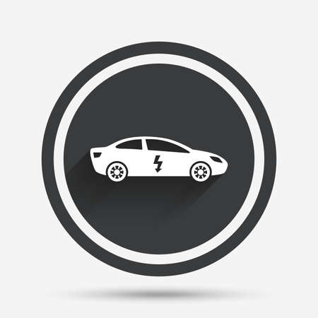 electric vehicle: Electric car sign icon. Sedan saloon symbol. Electric vehicle transport. Circle flat button with shadow and border. Vector Illustration