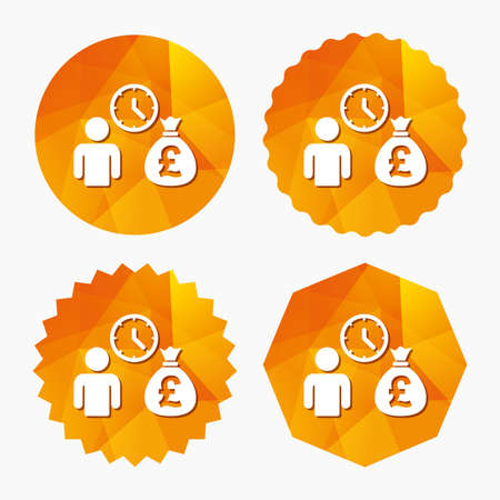 borrow: Bank loans sign icon. Get money fast symbol. Borrow money. Triangular low poly buttons with flat icon. Vector