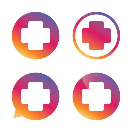 Medical cross sign icon. Diagnostics symbol. Gradient buttons with flat icon. Speech bubble sign. Vector