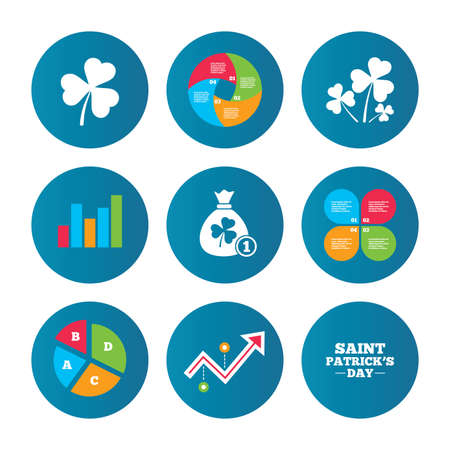 shamrock clover: Business pie chart. Growth curve. Presentation buttons. Saint Patrick day icons. Money bag with clover and coin sign. Trefoil shamrock clover. Symbol of good luck. Data analysis. Vector Illustration