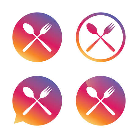 Eat sign icon. Cutlery symbol. Dessert fork and teaspoon crosswise. Gradient buttons with flat icon. Speech bubble sign. Vector Illustration