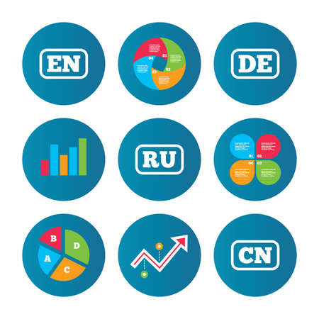 en: Business pie chart. Growth curve. Presentation buttons. Language icons. EN, DE, RU and CN translation symbols. English, German, Russian and Chinese languages. Data analysis. Vector Illustration