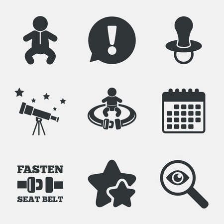 infants: Baby infants icons. Toddler boy with diapers symbol. Fasten seat belt signs. Child pacifier and pram stroller. Attention, investigate and stars icons. Telescope and calendar signs. Vector