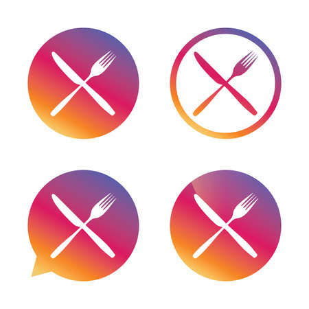 crosswise: Eat sign icon. Cutlery symbol. Fork and knife crosswise. Gradient buttons with flat icon. Speech bubble sign. Vector Illustration