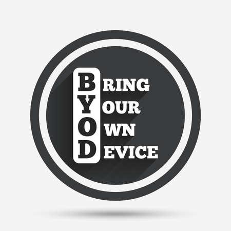 BYOD 記号アイコン。独自のデバイスのシンボルをもたらします。サークル シャドウと枠線含むフラットなボタン。ベクトル