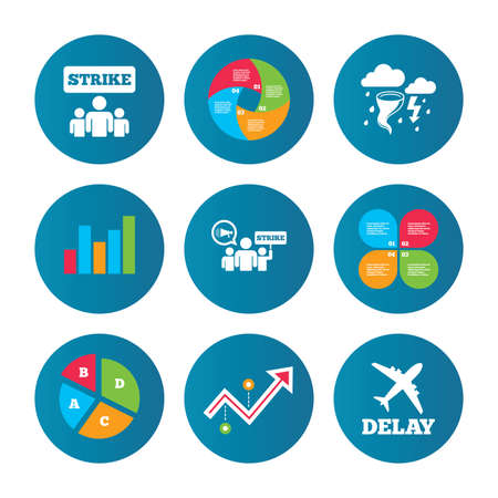 bad weather: Business pie chart. Growth curve. Presentation buttons. Strike icon. Storm bad weather and group of people signs. Delayed flight symbol. Data analysis. Vector