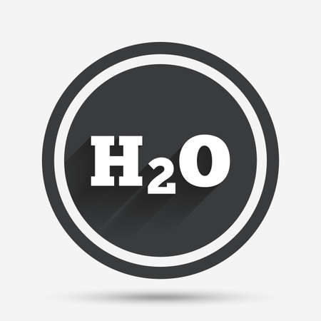 h2o: H2O Water formula sign icon. Chemistry symbol. Circle flat button with shadow and border. Vector