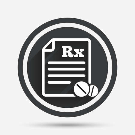 rx: Medical prescription Rx sign icon. Pharmacy or medicine symbol. With round tablets. Circle flat button with shadow and border. Vector