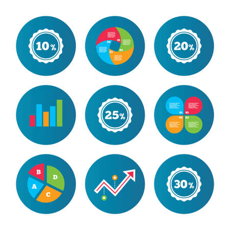 20 25: Business pie chart. Growth curve. Presentation buttons. Sale discount icons. Special offer stamp price signs. 10, 20, 25 and 30 percent off reduction symbols. Data analysis. Vector