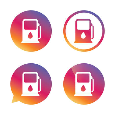 think tank: Petrol or Gas station sign icon. Car fuel symbol. Gradient buttons with flat icon. Speech bubble sign. Vector