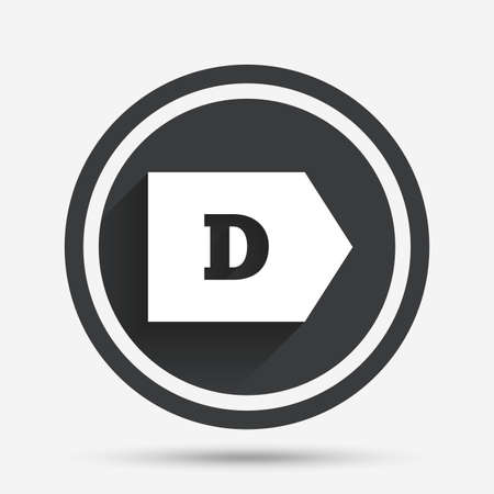 energy consumption: Energy efficiency class D sign icon. Energy consumption symbol. Circle flat button with shadow and border. Vector Illustration