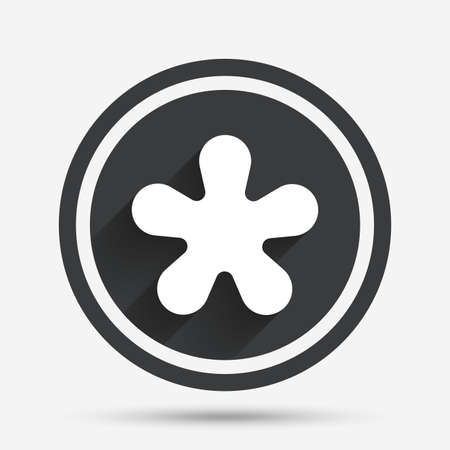 Asterisk round footnote sign icon. Star note symbol for more information. Circle flat button with shadow and border. Vector Illustration