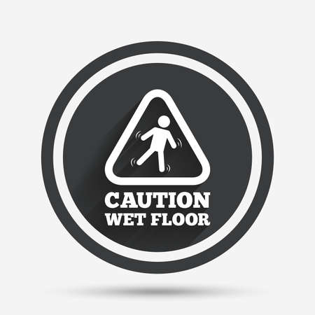 wet floor sign: Caution wet floor sign icon. Human falling triangle symbol. Circle flat button with shadow and border. Vector