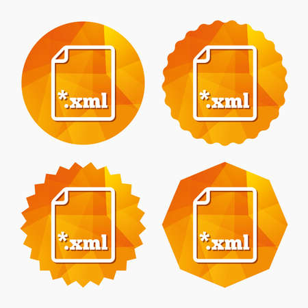 xml: File document icon. Download XML button. XML file extension symbol. Triangular low poly buttons with flat icon. Vector Illustration