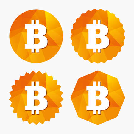 Bitcoin sign icon. Cryptography currency symbol. P2P. Triangular low poly buttons with flat icon. Vector