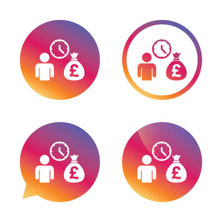 borrow: Bank loans sign icon. Get money fast symbol. Borrow money. Gradient buttons with flat icon. Speech bubble sign. Vector