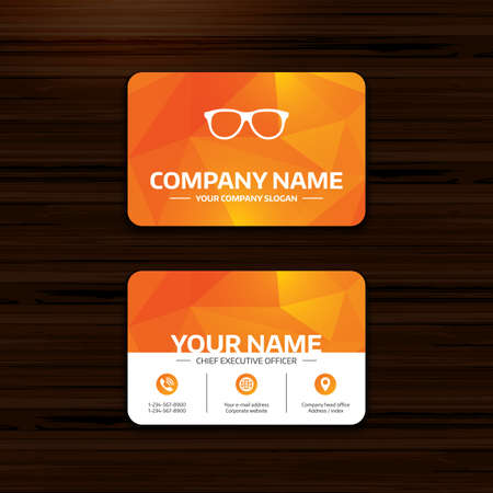 eyeglass frame: Business or visiting card template. Retro glasses sign icon. Eyeglass frame symbol. Phone, globe and pointer icons. Vector