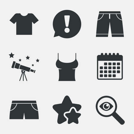 Clothes icons. T-shirt and bermuda shorts signs. Swimming trunks symbol. Attention, investigate and stars icons. Telescope and calendar signs. Vector