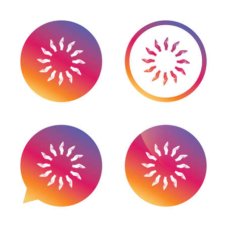 endowment: Donation hands circle sign icon. Charity or endowment symbol. Human helping hand palm. Gradient buttons with flat icon. Speech bubble sign. Vector Illustration