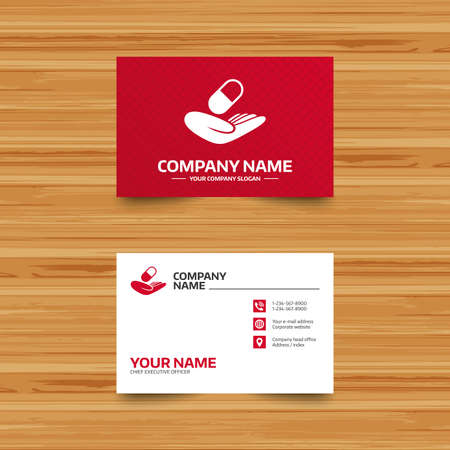 Business card template medical insurance sign icon health business card template medical insurance sign icon health insurance pill symbol phone colourmoves
