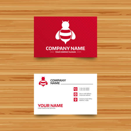 apis: Business card template. Bee sign icon. Honeybee or apis with wings symbol. Flying insect. Phone, globe and pointer icons. Visiting card design. Vector