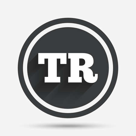 tr: Turkish language sign icon. TR Turkey translation symbol. Circle flat button with shadow and border. Vector