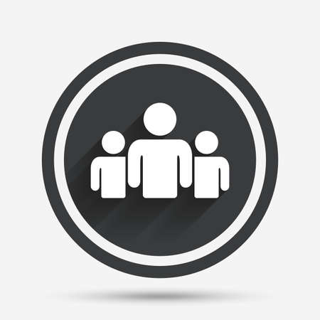 shadow people: Group of people sign icon. Share symbol. Circle flat button with shadow and border. Vector Illustration