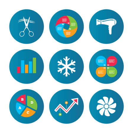 Business pie chart. Growth curve. Presentation buttons. Hotel services icons. Air conditioning, Hairdryer and Ventilation in room signs. Climate control. Hairdresser or barbershop symbol. Vector