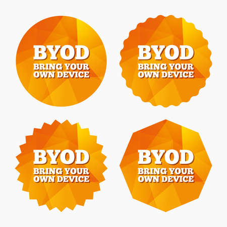bring: BYOD sign icon. Bring your own device symbol. Triangular low poly buttons with flat icon. Vector
