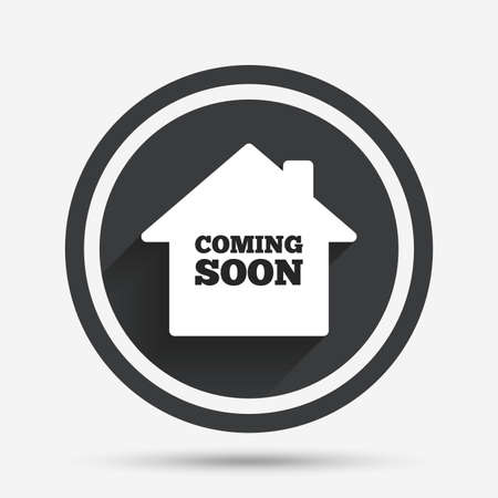 Homepage coming soon teken pictogram. Promotie aankondigingssymbool. Cirkel platte knop met schaduw en rand. Vector