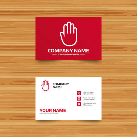 card stop: Business card template. Hand sign icon. No Entry or stop symbol. Give me five. Phone, globe and pointer icons. Visiting card design. Vector