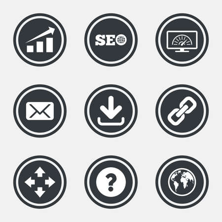 bandwidth: Internet, seo icons. Bandwidth speed, download arrow and mail signs. Hyperlink, monitoring symbols. Circle flat buttons with icons and border. Vector