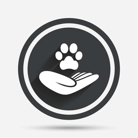 shelter: Shelter pets sign icon. Hand holds paw symbol. Animal protection. Circle flat button with shadow and border. Vector