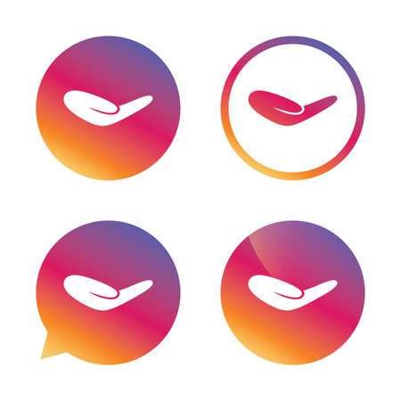 endowment: Donation hand sign icon. Charity or endowment symbol. Human helping hand palm. Gradient buttons with flat icon. Speech bubble sign. Vector
