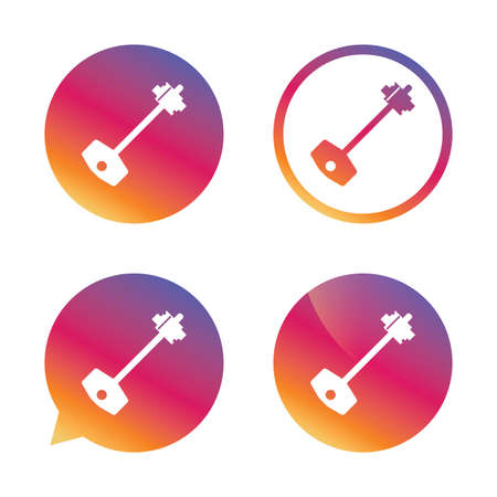 tool unlock: Key sign icon. Unlock tool symbol. Gradient buttons with flat icon. Speech bubble sign. Vector