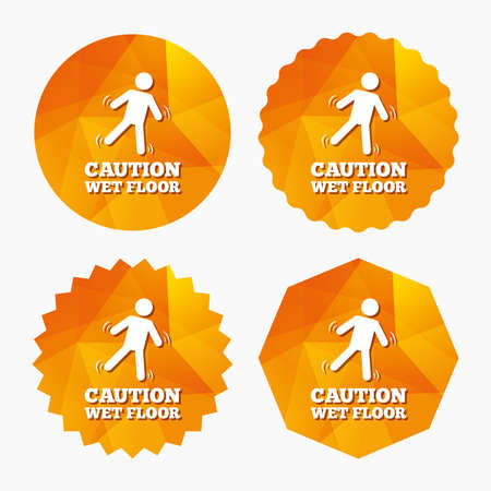 wet floor sign: Caution wet floor sign icon. Human falling symbol. Triangular low poly buttons with flat icon. Vector